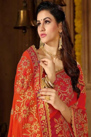 Orange & Red Georgette Saree with Blouse