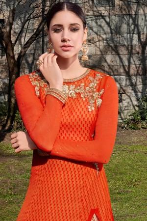 Orange Georgette Semi  Stitch Salwar Kameez