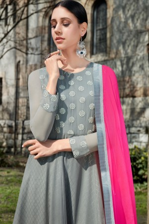 Grey Georgette Semi  Stitch Salwar Kameez