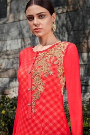 Tometo Red Georgette Semi  Stitch Salwar Kameez