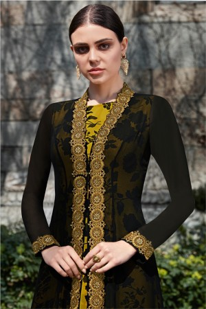 Black&Mustard Georgette Semi  Stitch Salwar Kameez