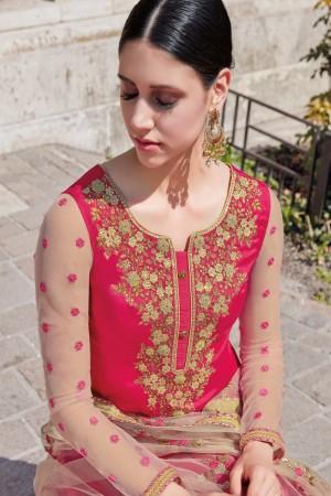 Pink Georgette Semi  Stitch Salwar Kameez