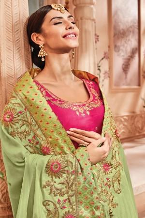 Parrot Green Silk Saree with Blouse