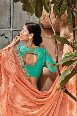 Light Orange Silk Saree with Blouse