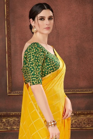 Yellow Two Tone Silk Saree with Blouse