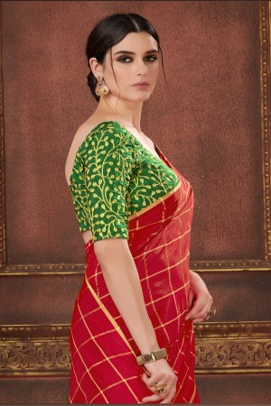 Red Two Tone Silk Saree with Blouse