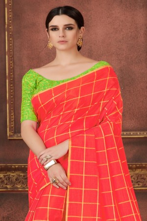 Coral Two Tone Silk Saree with Blouse