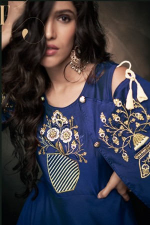 Navy Blue Soft Taffeta Silk Full Stitch Salwar Suit