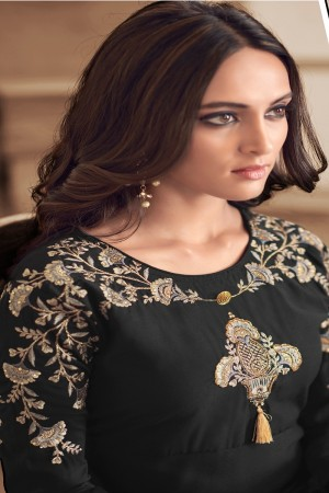 Black Maslin Full Stitch Salwar Suit