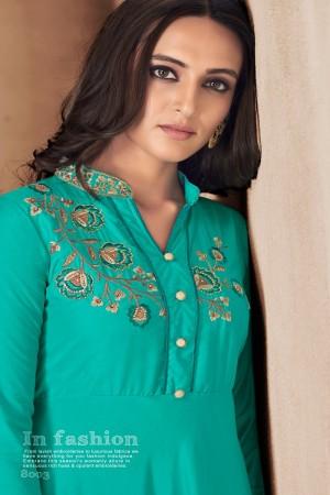 Ice Blue Maslin Full Stitch Salwar Suit