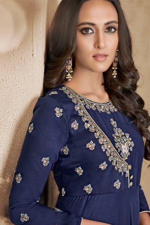 Navy Blue Maslin Full Stitch Salwar Suit