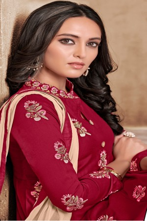 Dark Red Maslin Full Stitch Salwar Suit