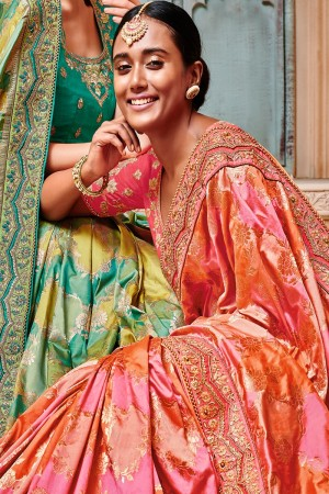 Pink & Peach Silk Saree with Blouse