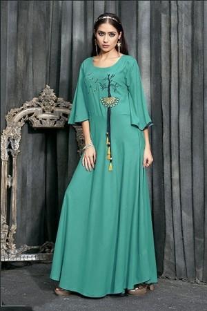 Rama Green Pure Rayon Slub Kurti