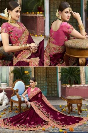Maroon Silk Saree with Blouse