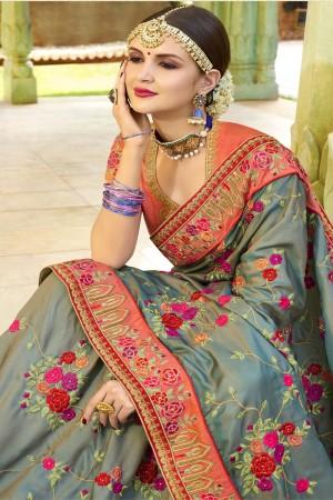 Grey Silk Saree with Blouse