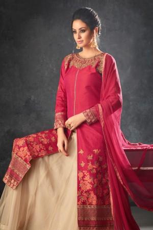 Pink Two Tone Raw Silk Semi Stitch Salwar Kameez