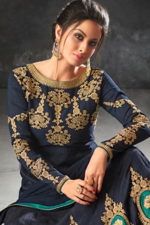 Blue Raw Silk Semi Stitch Salwar Kameez