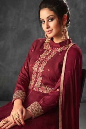 Maroon Raw Silk Semi Stitch Salwar Kameez