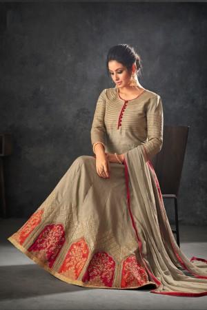 Beige Raw Silk Semi Stitch Salwar Kameez