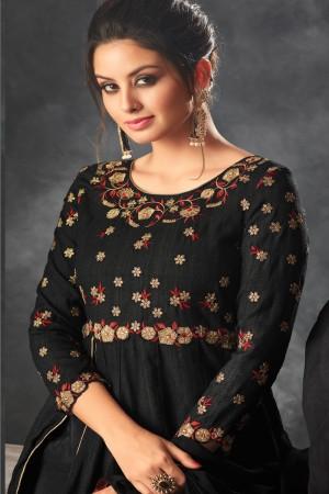 Black Raw Silk Semi Stitch Salwar Kameez