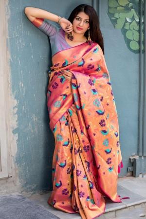 Orange Kanjivaram Silk Saree with Blouse