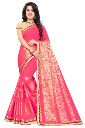 Pink Top Dyed Silk Jacquard Saree with Blouse