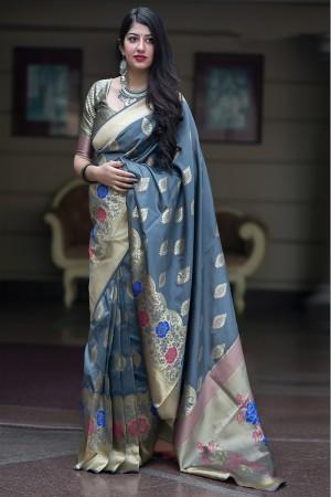 Grey Midhusa Silk Saree with Blouse