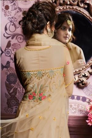 Beige Net Semi Stitch Salwar Kameez