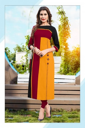 Musterd& Red Rayon with Digital Print Kurti
