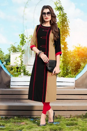 Black&Chiku Rayon with Digital Print Kurti