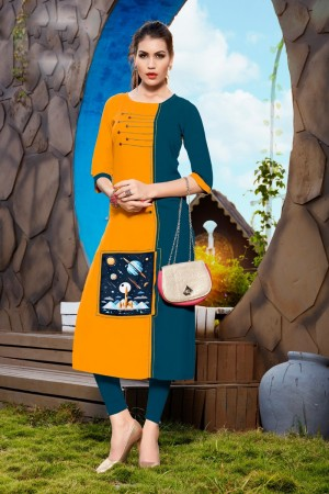 Mustard&Aqua Rayon with Digital Print Kurti