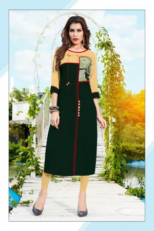 Dark Green Rayon with Digital Print Kurti