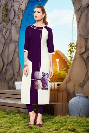 Wine Rayon with Digital Print Kurti