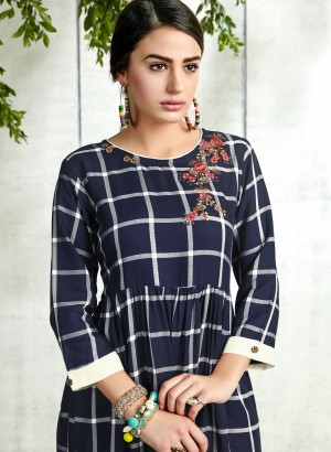 Blue Handloom Slub Cotton Kurti