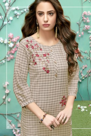 Brown Grey Handloom Slub Cotton Kurti