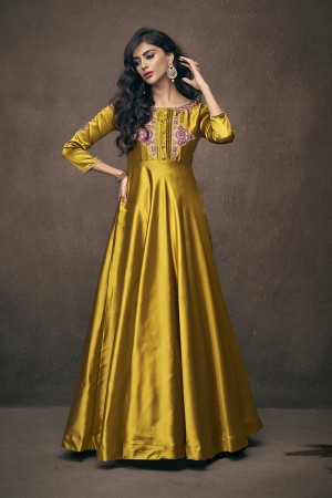 Mustard Satin Silk Readymade Gown
