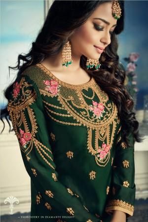 Dark Green Satin Georgette Semi Stitch Salwar Kameez