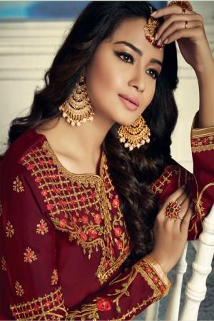 Maroon Satin Georgette Semi Stitch Salwar Kameez