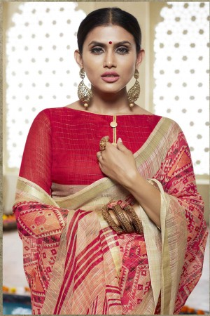 Red Cotton Saree with Blouse