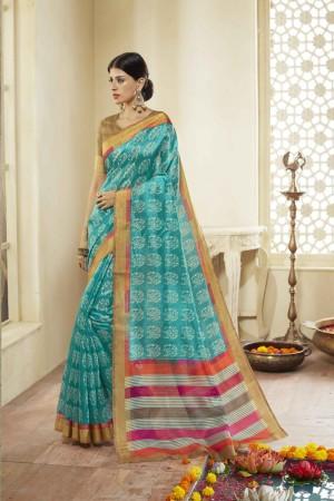 RamaGreen Cotton Saree with Blouse