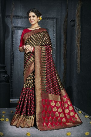 Black Pure Silk Saree with Blouse