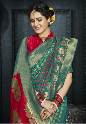 Mint Green Pure Silk Saree with Blouse