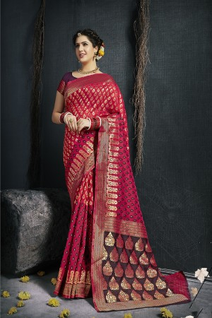 Red Pure Silk Saree with Blouse