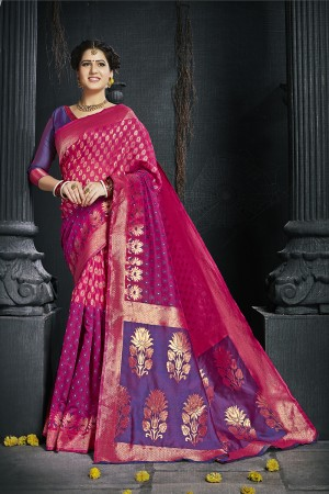 Ranipink Pure Silk Saree with Blouse