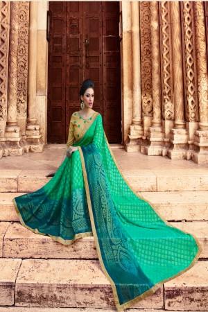 Rama Green Brasso Saree with Blouse
