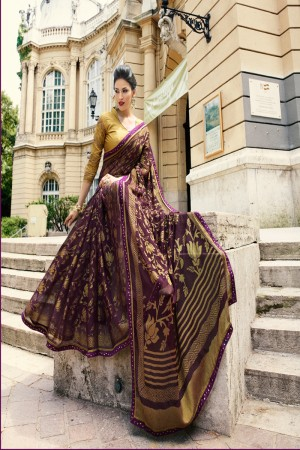 Wine Brasso Saree with Blouse