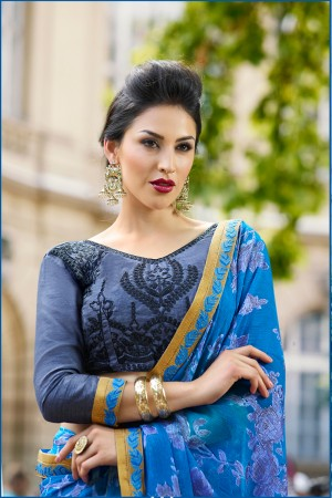 Light Blue Brasso Saree with Blouse
