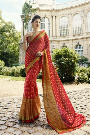 Red Brasso Saree with Blouse
