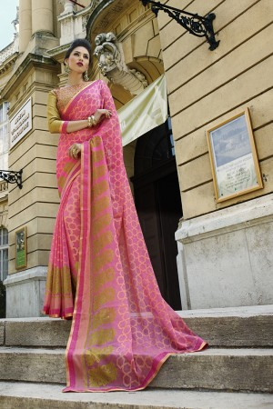Pink Brasso Saree with Blouse